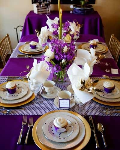 Beautiful Purple And Gold Dinner Party Tablescape Filled With Gorgeous  Purple and white Blooms And Gold Place Settings.