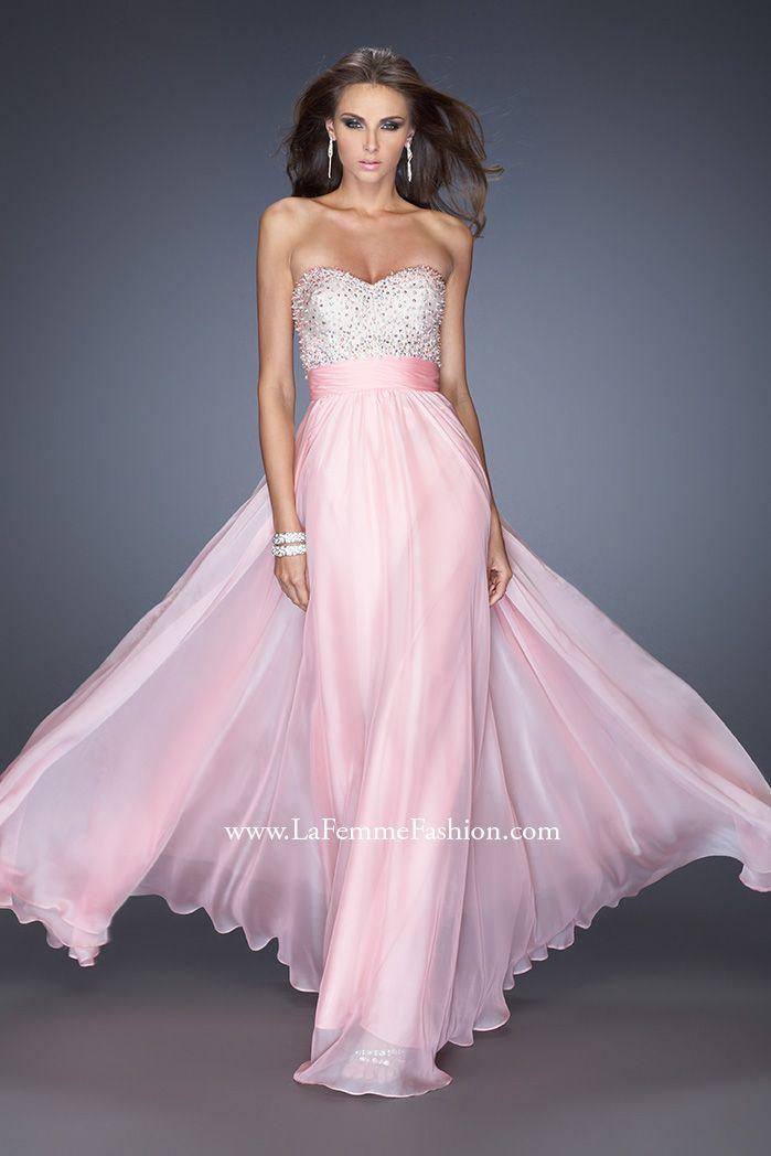 La Femme 19726- long pink chiffon prom dress- strapless chiffon prom ...