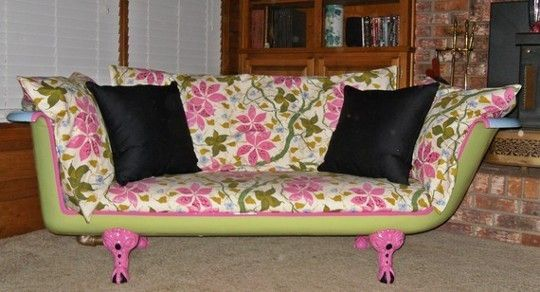 Upcycling chic the bathtub sofa artsy fartsy for Sofa upcycling