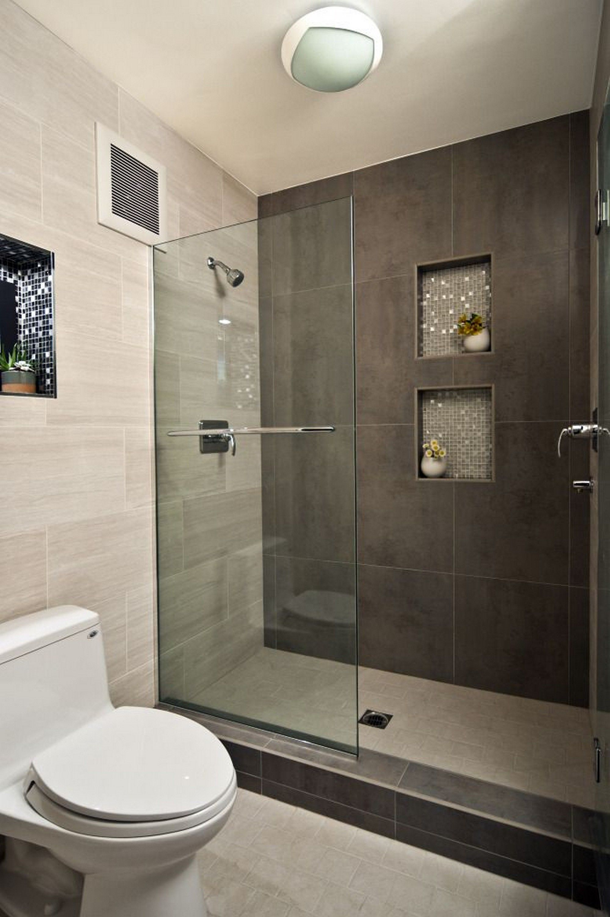 Grey White Bathroom Walk In Shower Designs Decoration Using Grey Concrete  Tile Bathroom Walls Including Clear Glass Shower Door And In Wall Grey  Mosaic Tile ...