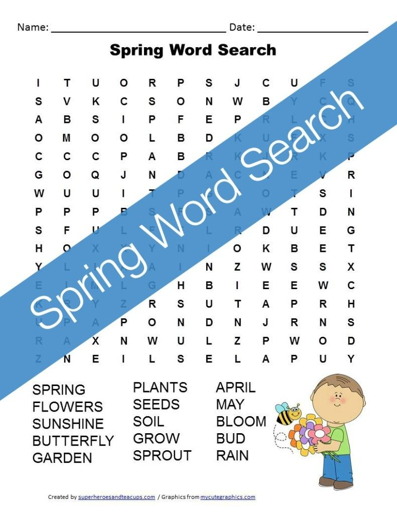 Spring Word Search Free Printable | Pinterest | Spring word search ...