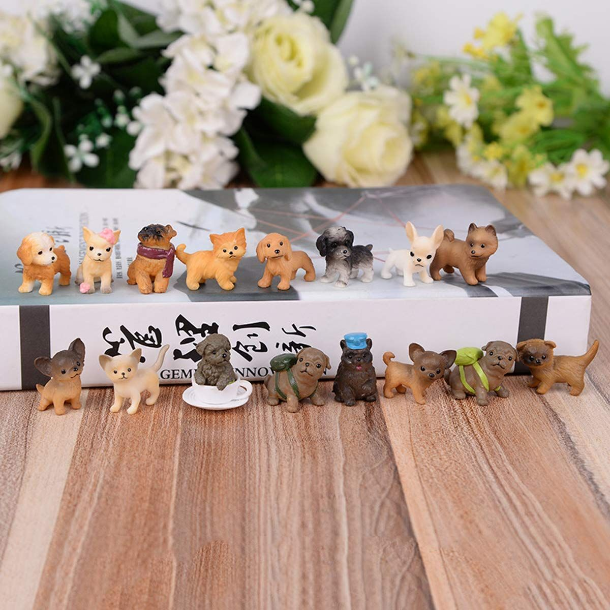 Guasslee Mini Plastic Puppy Dog Figurines For Kids 28 Pack High