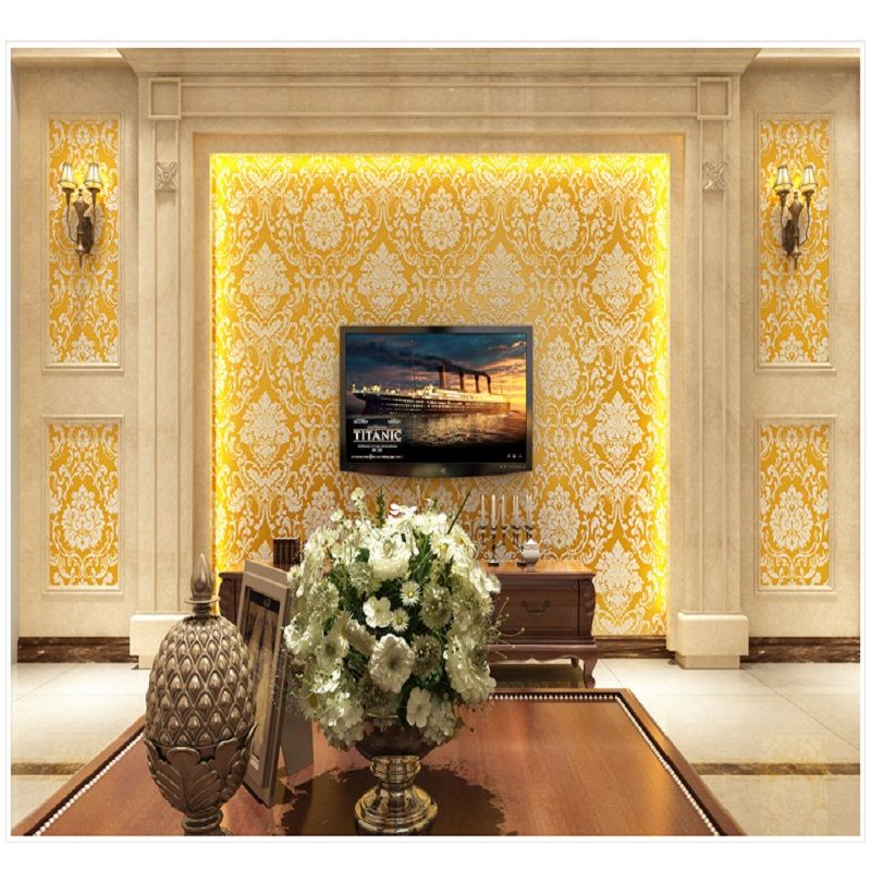 Vintage Classic Gold&Beige French Modern Damask Feature Wall paper ...