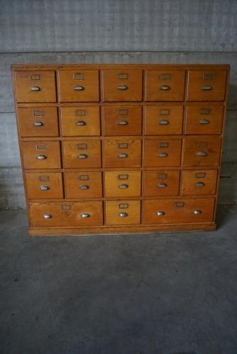 Franzosischer Vintage Eichenholz Apothekerschrank Mit Messing