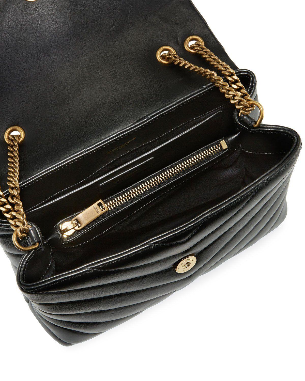 a66d20c7134 Saint Laurent Loulou Monogram Small V-Flap Chain Shoulder Bag - Lt. Bronze  Hardware