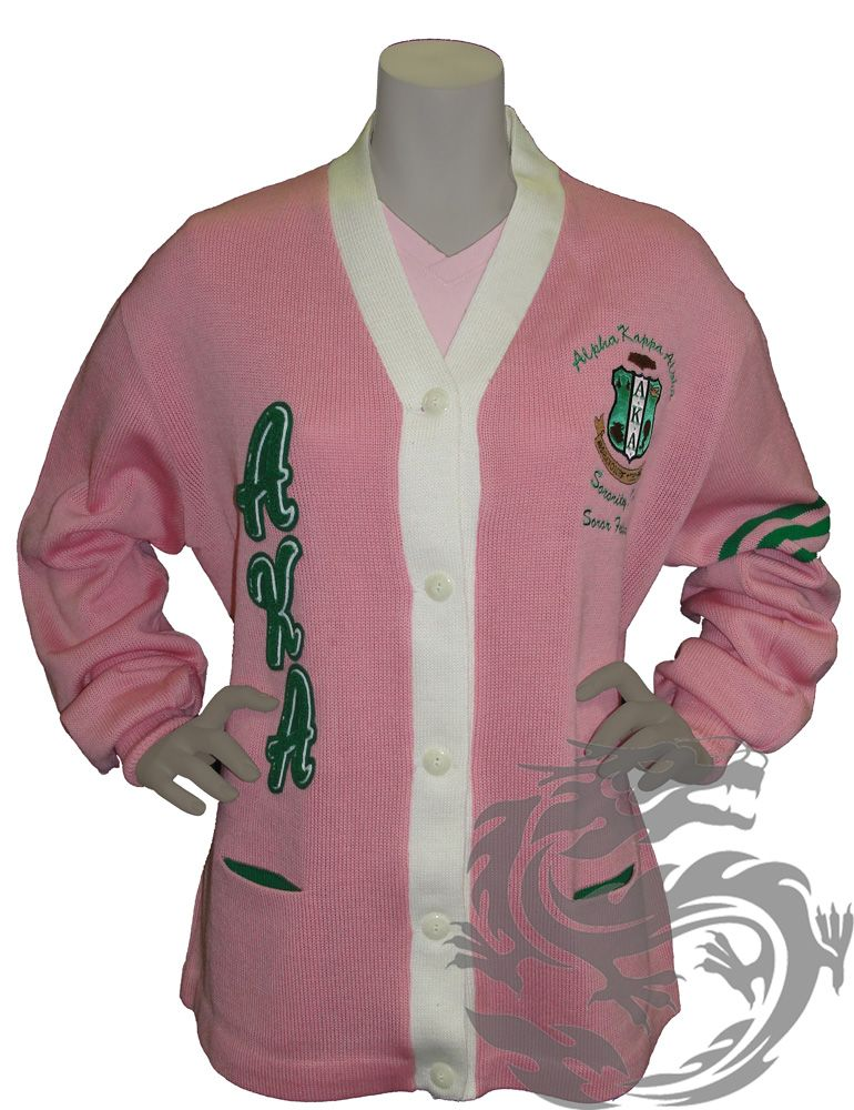Alpha Kappa Alpha Sorority Inc Cardigan Evrthing Pink And Green