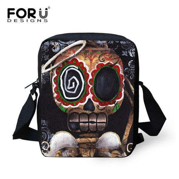 Vintage Women Messenger Bags Punk Rock Skull Printed Crossbody Bags for Girl Casual Ladies Bolsa Mini Canvas Shoulder Travel Bag