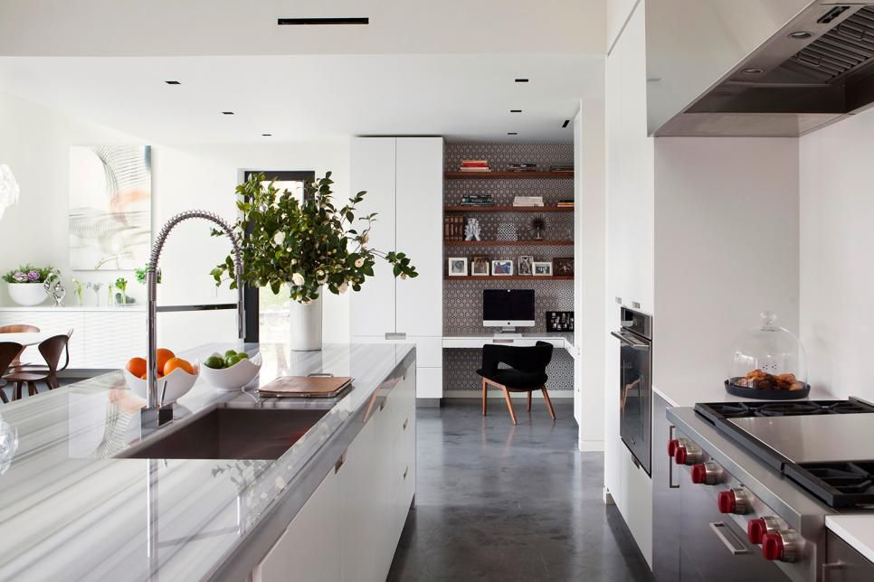 Open Plan Kitchen With Corner Office And Polished Concrete Floors Kitchen Flooring Concrete Kitchen Floor Concrete Floors Living Room