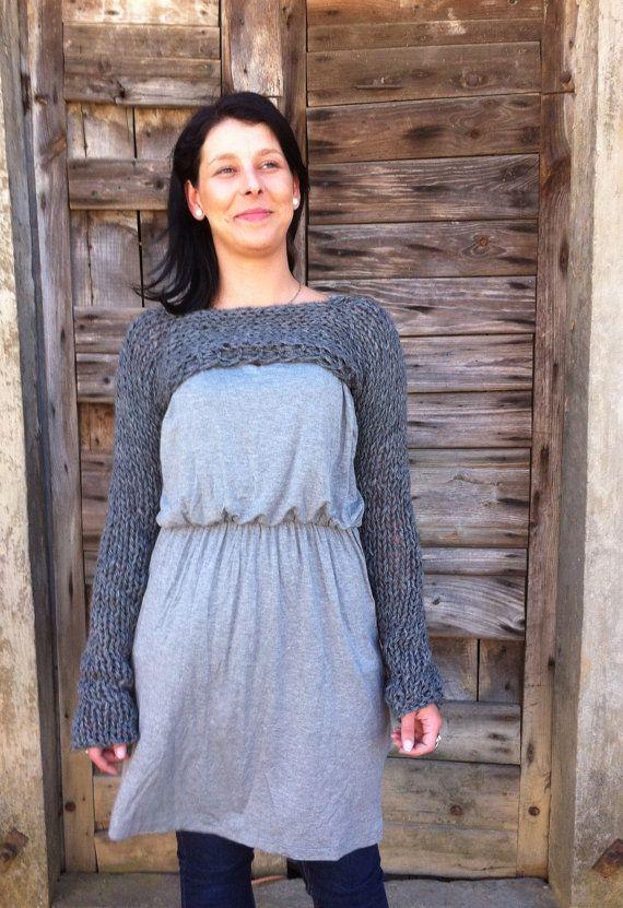 Knitting pattern-Dark grey Shrug Sweater/Chunky Scarf/Woman ...