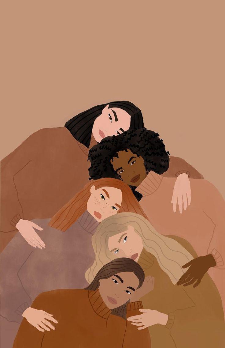 Women supporting women illustration, women empowerment illustration
