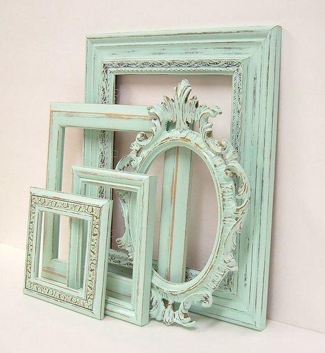 Shabby Chic Marcos menta Pastel verde cuadro marco conjunto ...