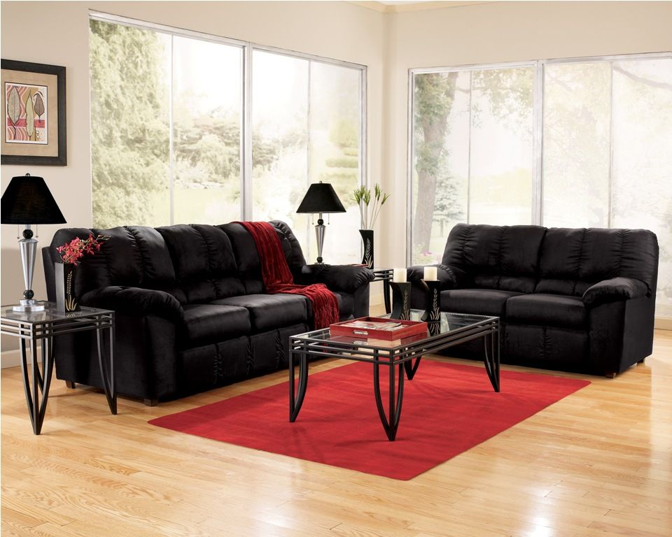 cheap furniture living room ideas for large rooms black puffy sofa with red carpet and light wooden floor white transparent window wall decoration table