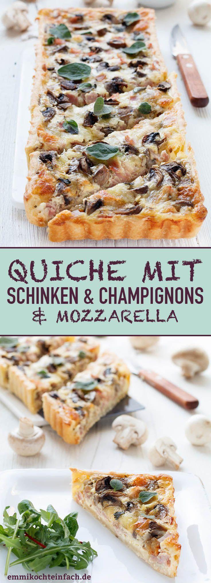 Quiche mit Schinken, Champignons und Mozzarella | Das einfache Rezept. Eine leckere Alternative zur Pizza. Die perfekte Feierabendküche, die auch noch am nächsten Tag kalt schmeckt (z.B. im Büro) | #quiche #champignons #mozzarella #herzhaft #selbstgemacht #rezept #einfachkochen | emmikochteinfach.de