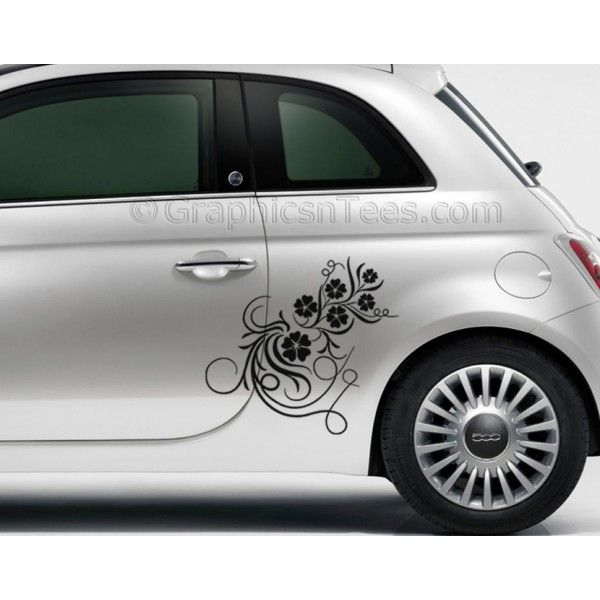 Fiat Flower Vine Car Sticker Custom Vinyl Graphic Decal - Graphic design custom vinyl stickers
