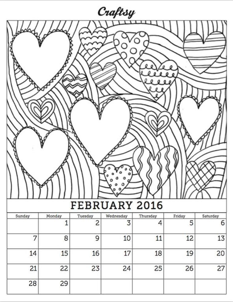 February 2016 Coloring Page Calendar Craftsy Coloring Calendar Coloring Pages Free Coloring Pages