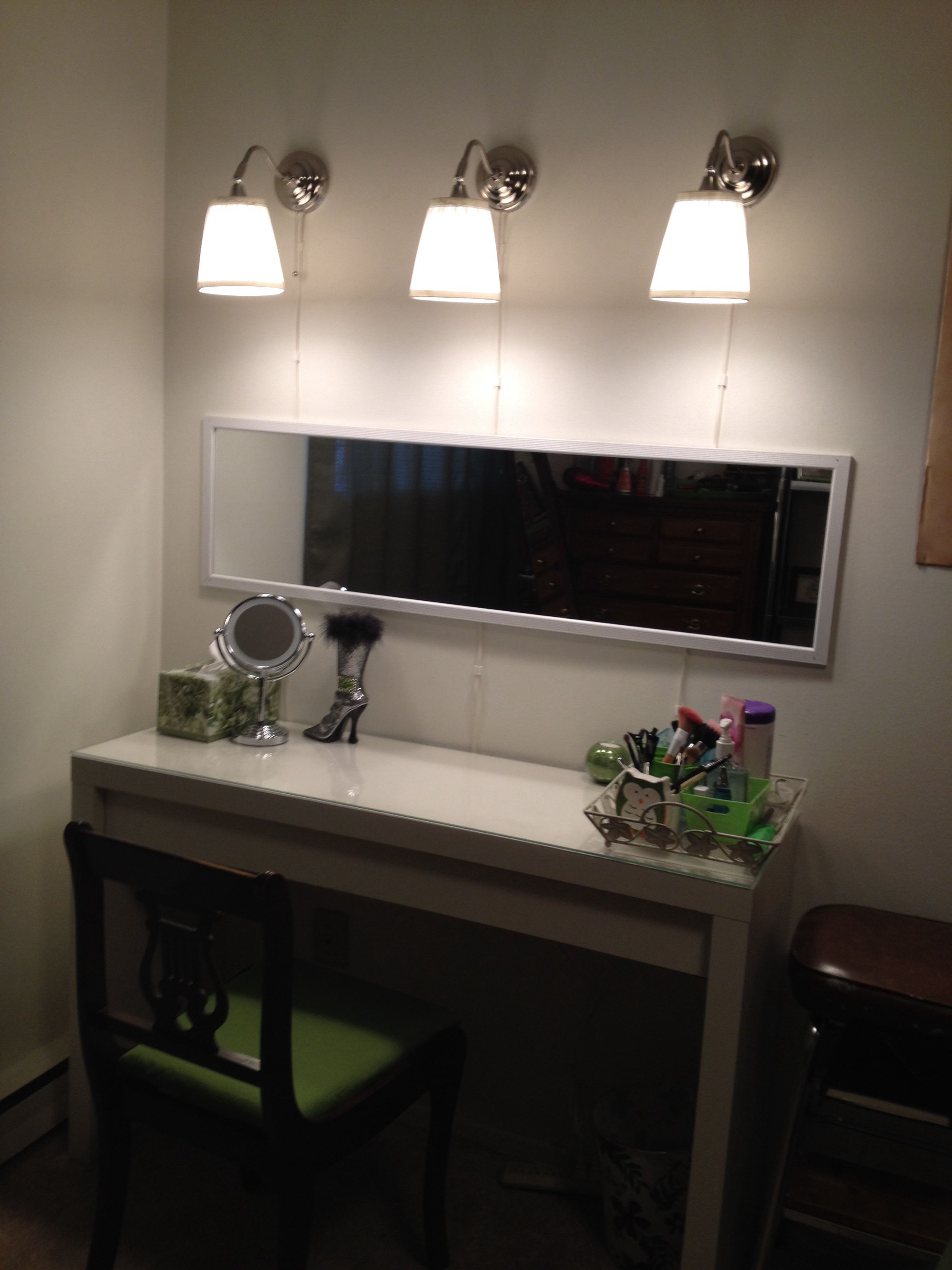 Ikea Vanity; Malm Dressing Table And Arstid Wall Lamps