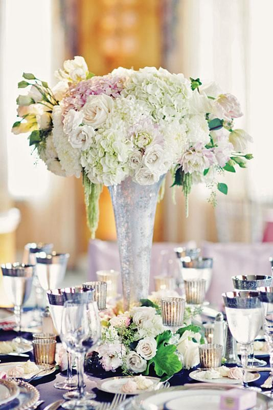 floral reception centerpiece in white and blush