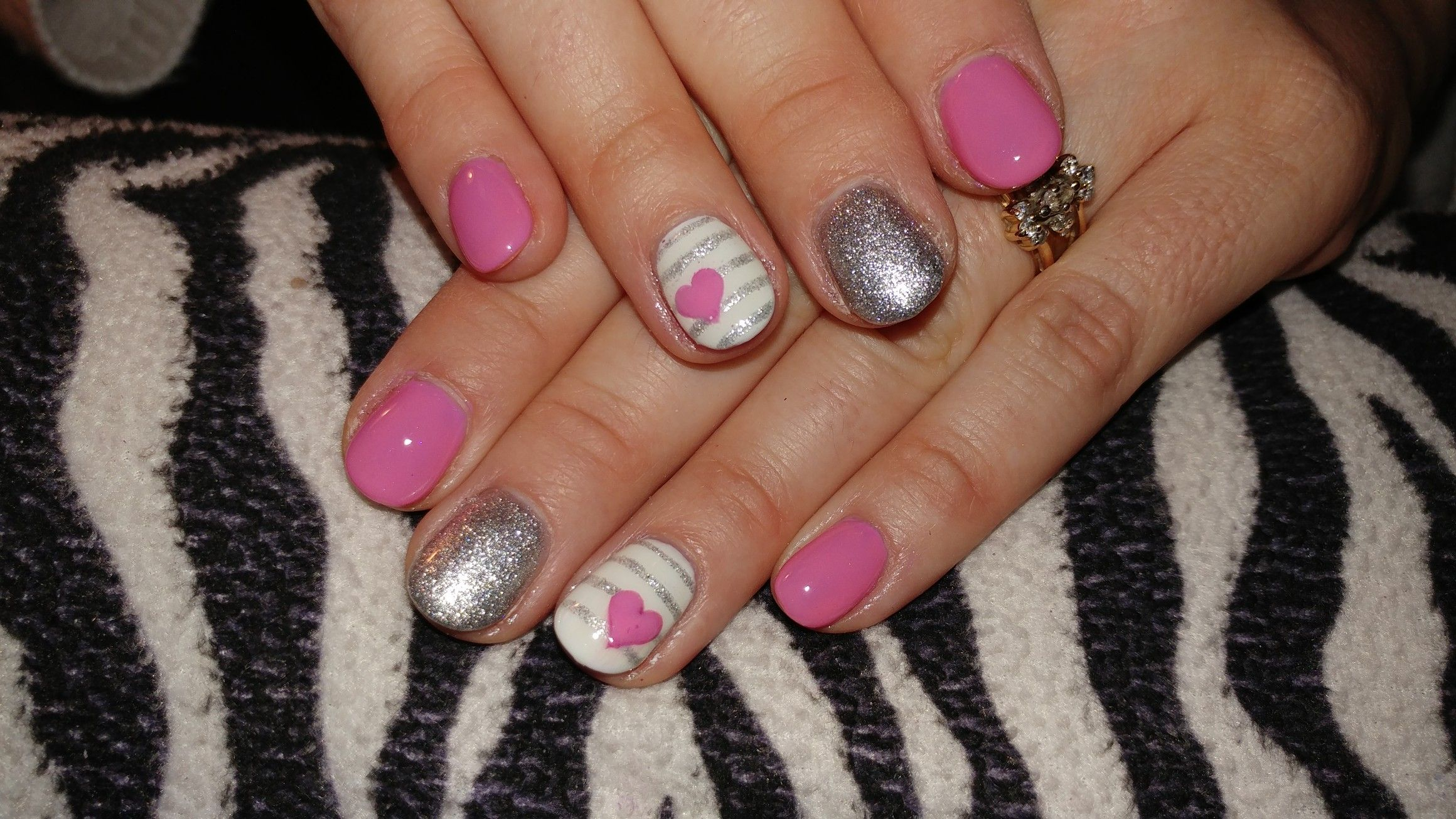 Valentines Day Nail Design Acrylic Nails With Hand Painted Nail