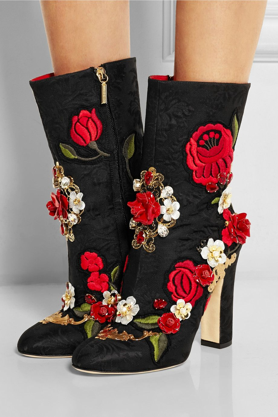 Dolce & GabbanaEmbellished brocade boots