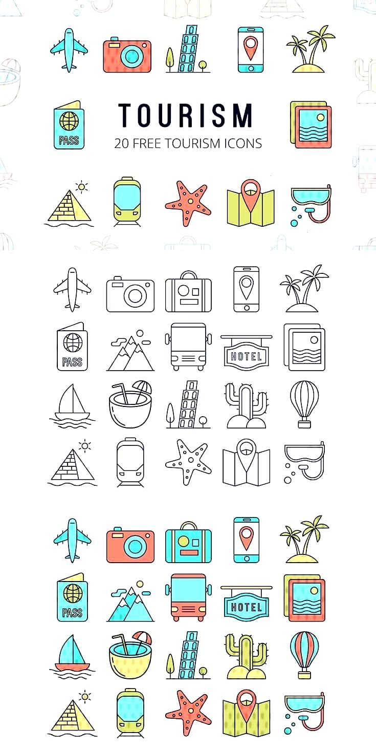 Free Tourism Vector Icon Set : Free Set contains 20 high quality thematic icons. Each has 2 options