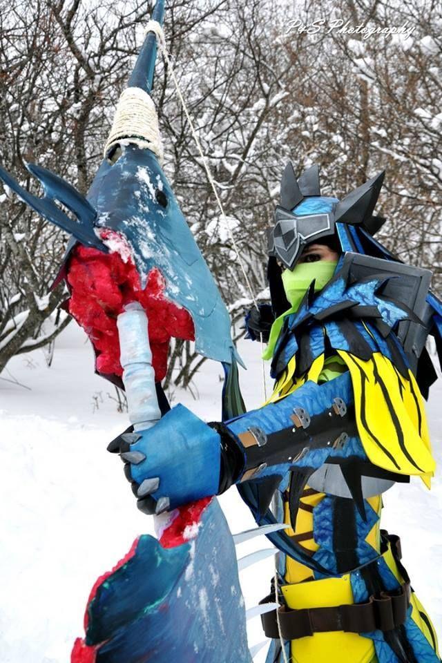 cosplay de monster hunter 3 ultimate armure rathalos azure