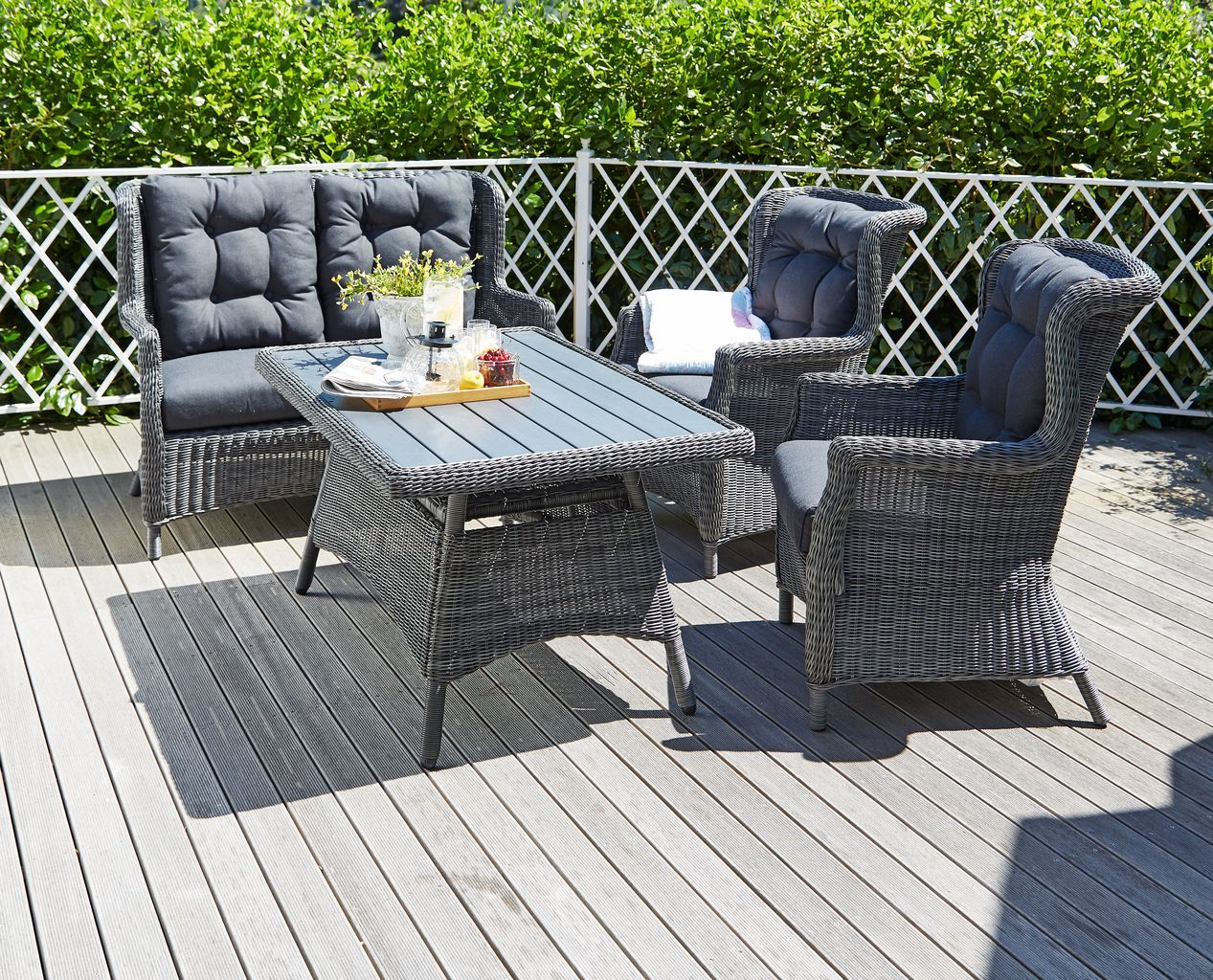 Garden lounge furniture with matching table to complete the