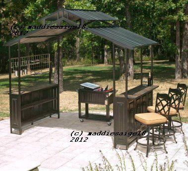 Details About All Steel Outdoor Grill Gazebo W Slate
