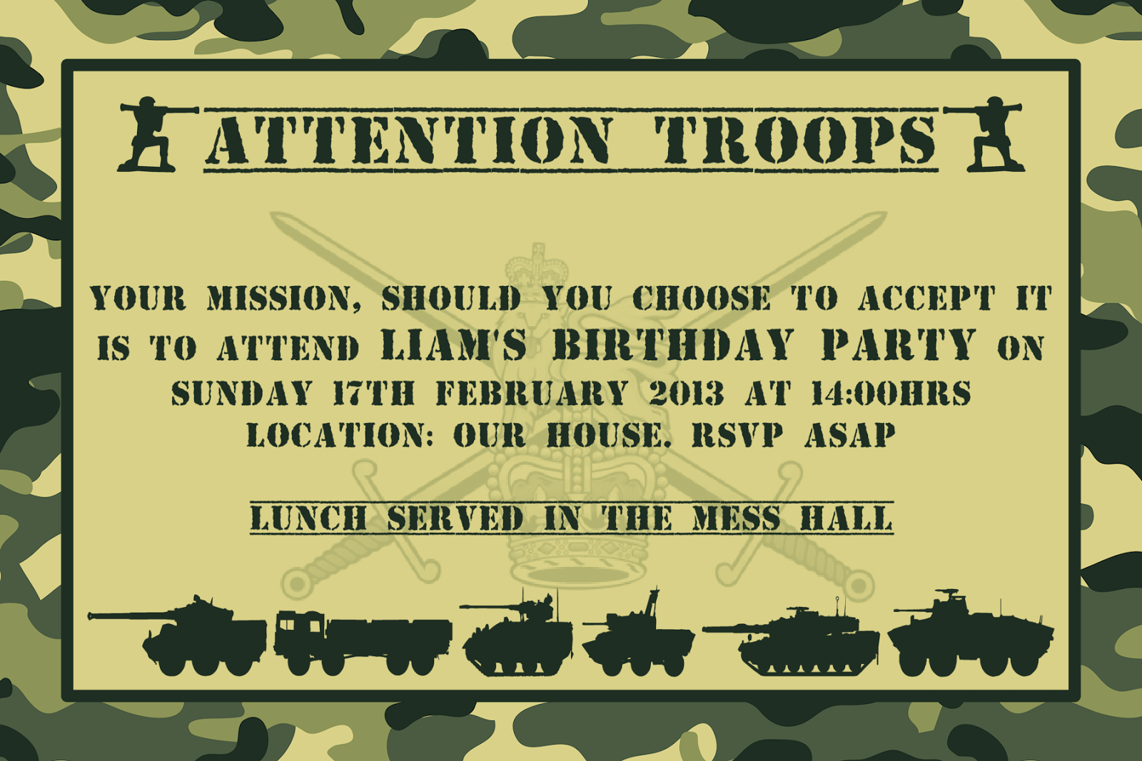 Bringing It All Together Army Themed Party – Military Party Invitations