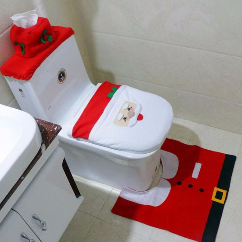 Details Zu Weihnachtsdeko Badezimmer Weihnachtsmann 3 Set  Toilettensitzbezug Teppich