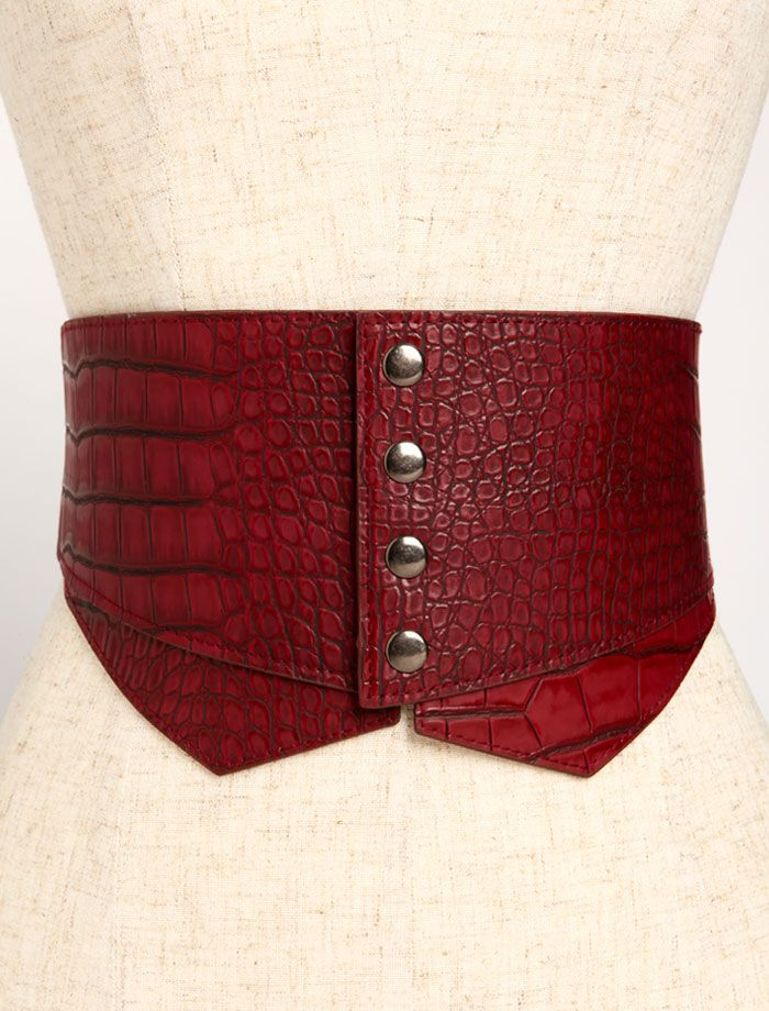 LOVE CULTURE RED LEATHER STUDDED BELT