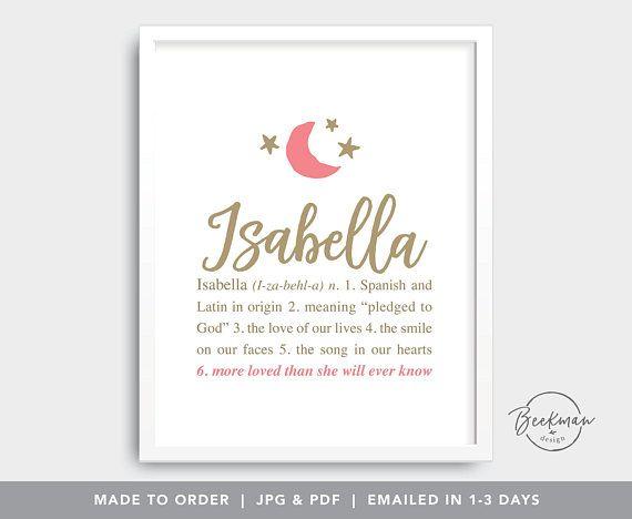 Isabella Digital Files Bella Personalized Baby Name Art Moon