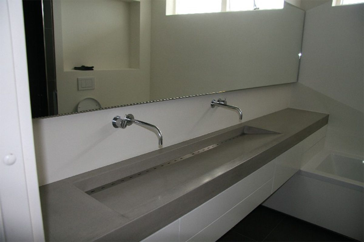 Wastafel Van Beton : Lange wastafel beton wastafels terrazzo en beton pinterest