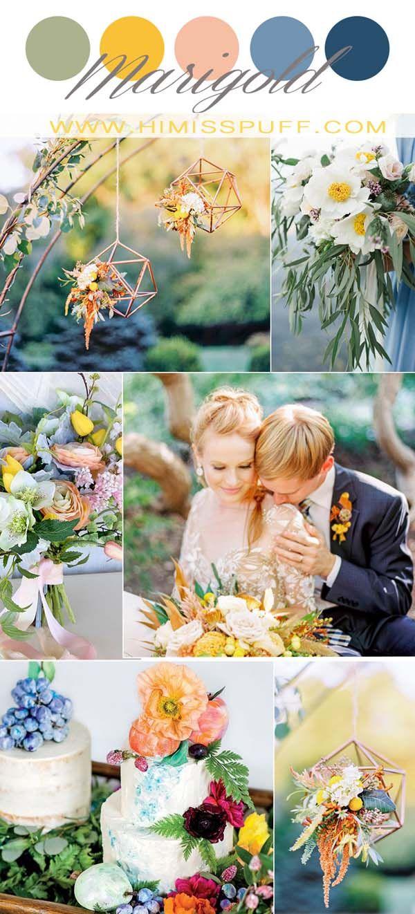 Goudsbloem bruiloftideeën mix en match stoffige blauwe bruidsmeisje jurk groen weddin …