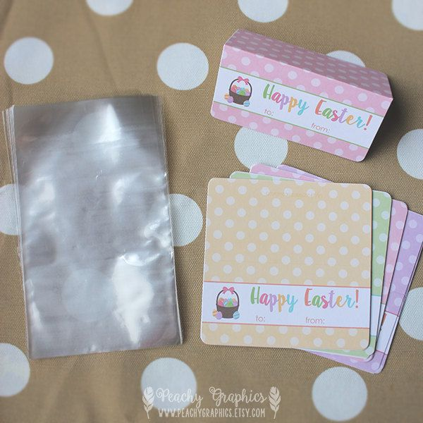 Easter treat bags and tags set of 12 printed labels and cello easter treat bags and tags set of 12 printed labels and cello bags happy negle Gallery