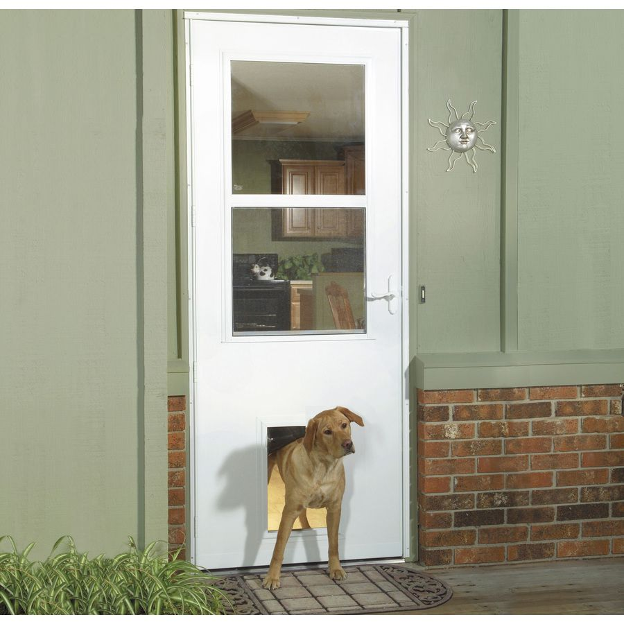 Larson Pet Door White High View Tempered Gl Storm Common 32 In X 81 Actual 31 75 79 875 At Lowes