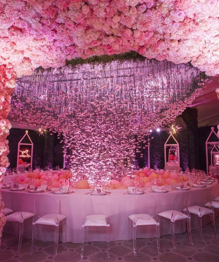 Khloe Kardashian Baby Shower   Floral Ceiling & Balloon Decor ...