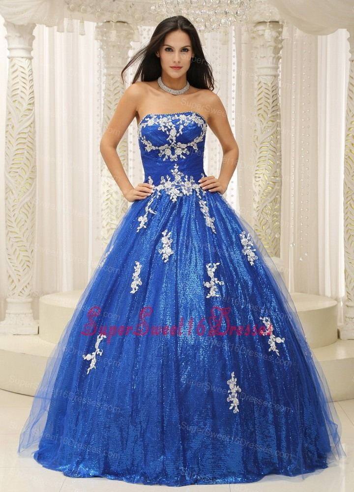 Royal Blue Sweet 16 Dress With Appliques Paillette Over Skirt Tulle