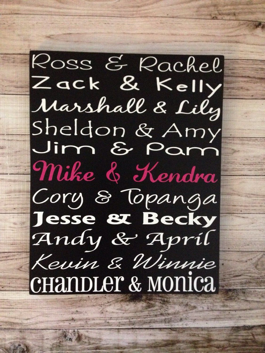 First Anniversary Gift Famous Couples Wood Sign by