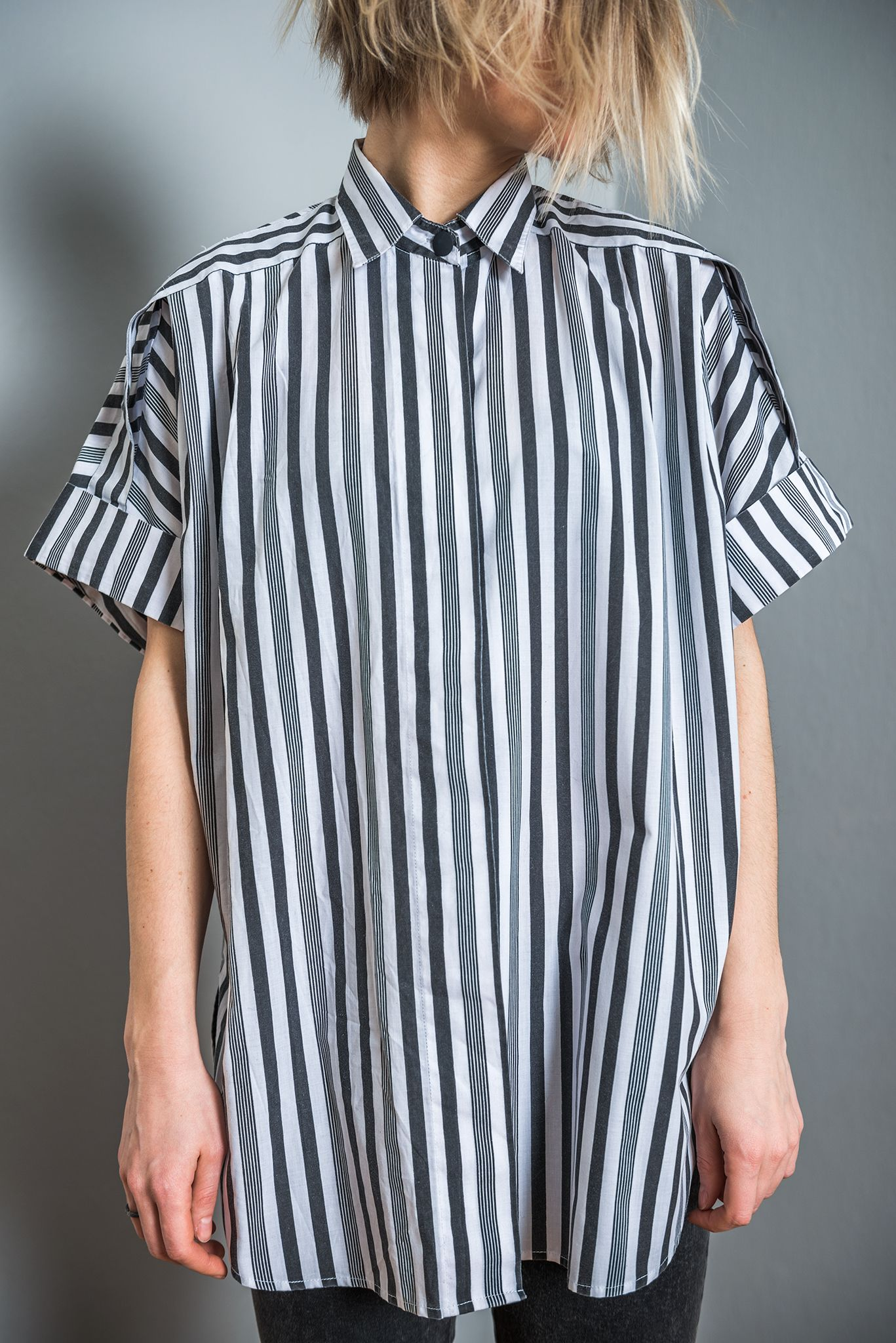 ca405de2305ff2 Black and white striped 80s oversize women vintage roll up sleeves cotton  summer shirt
