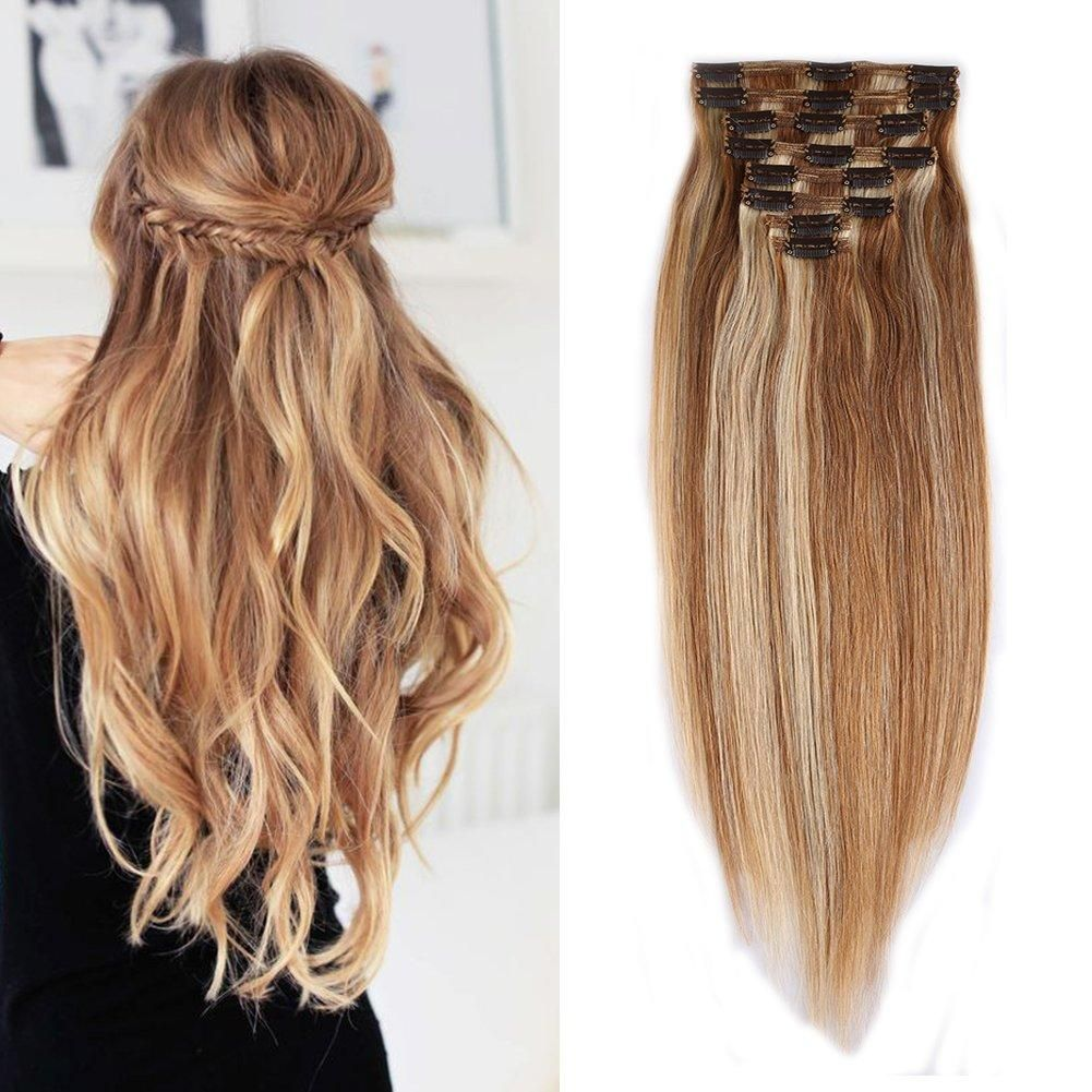 Double Weft 100 Remy Human Hair Clip in Extensions