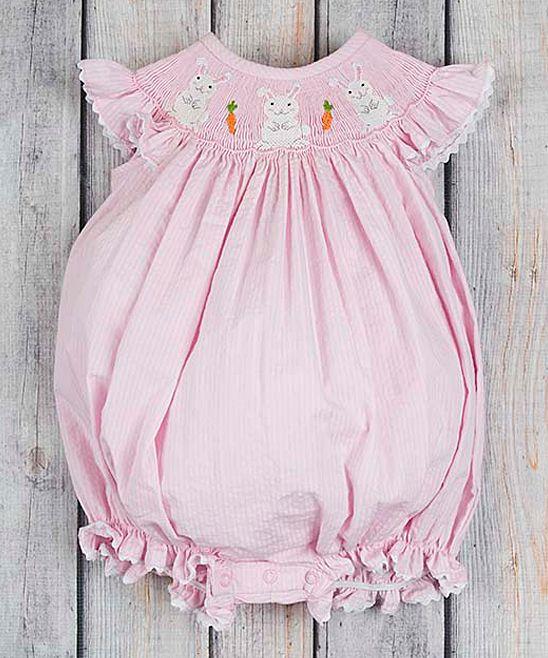60ed9175ac97 Pink Seersucker Bunny Bubble Romper - Infant   Toddler
