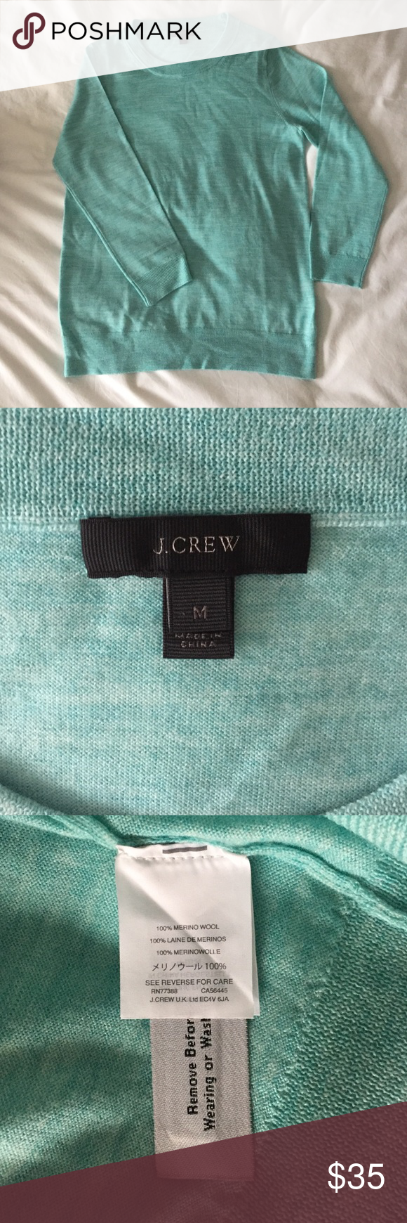 J. Crew Tippi Sweater 100% Merino Wool Great condition!!  Light green heathered tippi sweater, worn twice.  100% Merino Wool.  Pretty color!! J. Crew Sweaters Crew & Scoop Necks