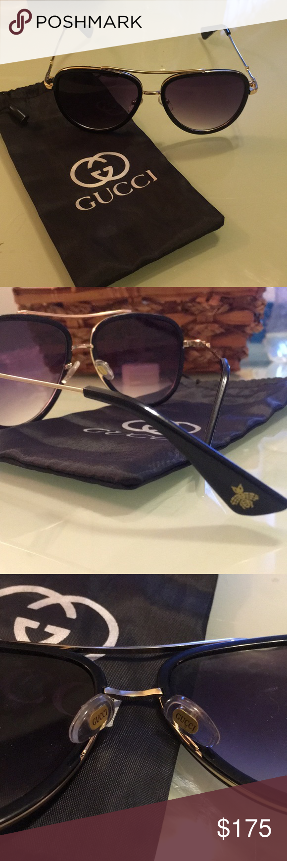 d0ba5cdb188 Gold Black Gucci Sunglasses Gold Black brand new Gucci Sunglasses from saks  fifth originally  244 asking 150 obo