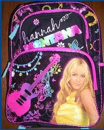 bb25f85b72 Hannah Montana Shiny GLITTERY Pink Black Backpack NEW Miley Cyrus Book Bag.   15.99