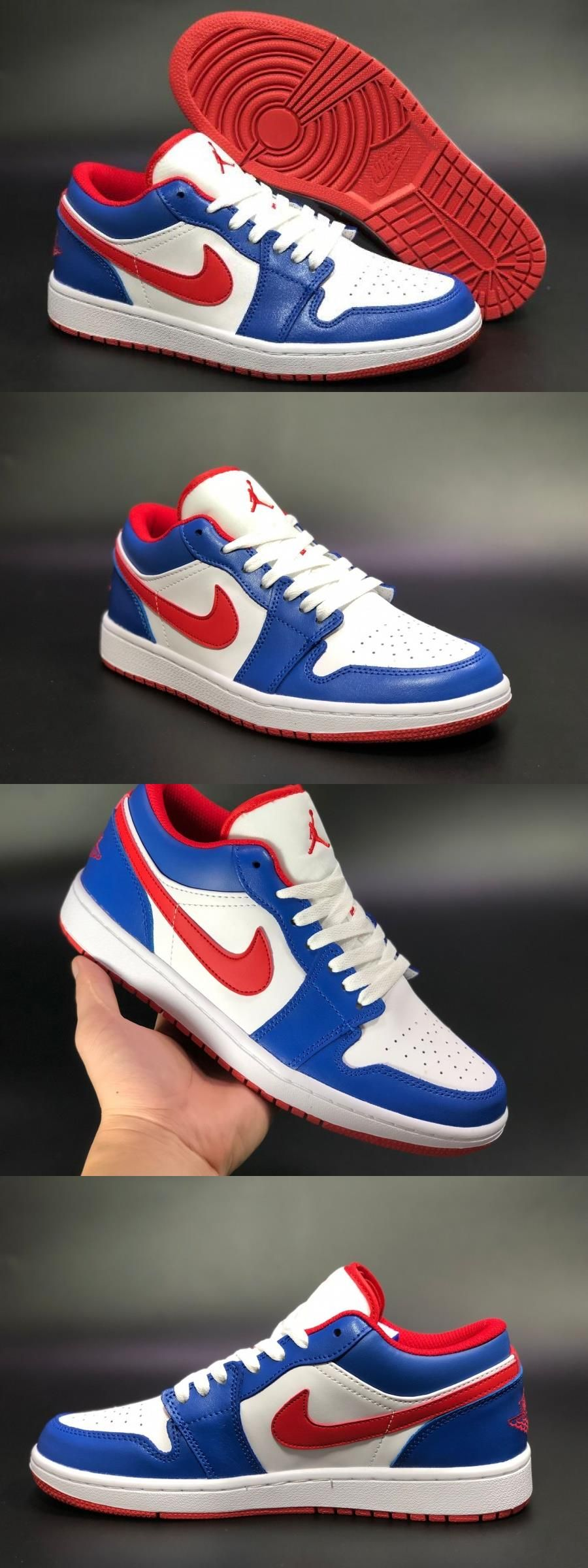 "Air Jordan 1 Low ""usa"" White/sport Royalfire Red For"