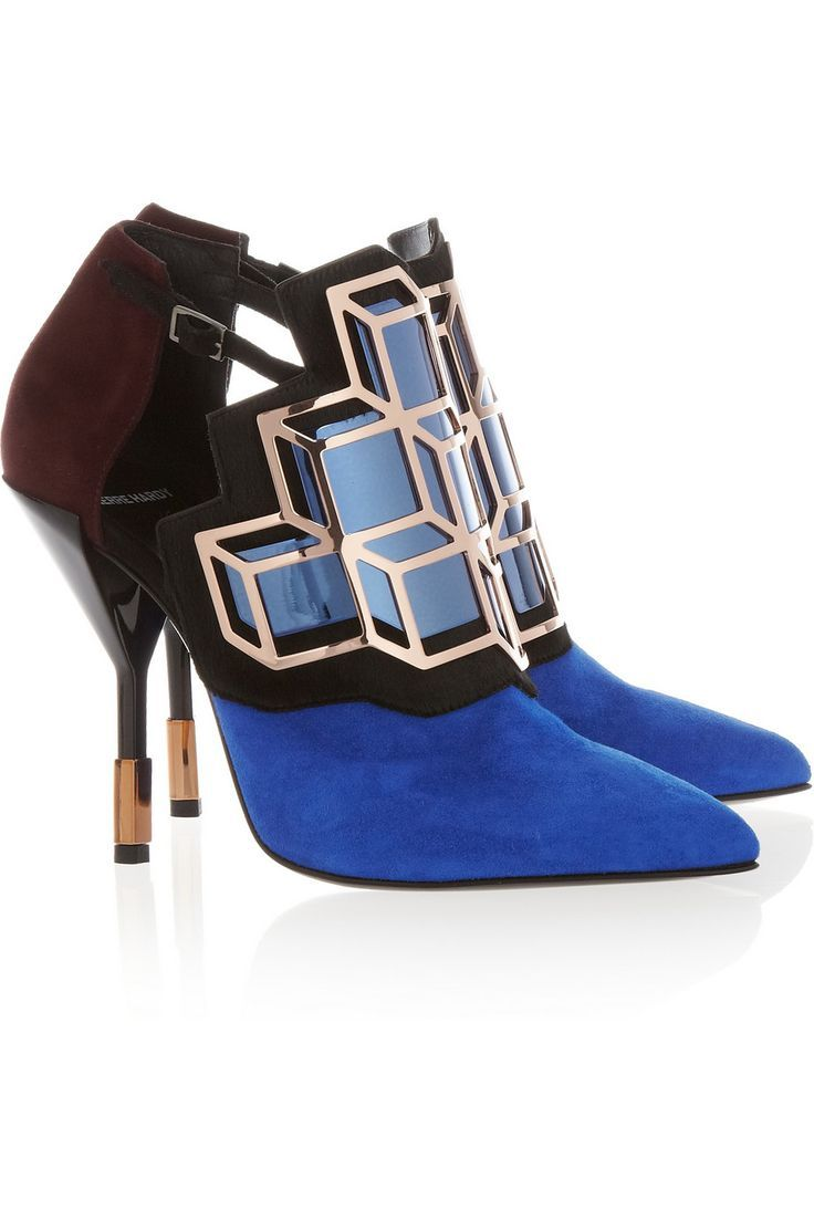 Embellished suede and calf hair pumps by Pierre Hardy