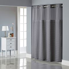 Hookless Square Tile Jacquard Lined Shower Curtain Hookless Shower Curtain Shower Tile Curtains