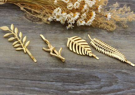 H032 Gratis verzending Mooie Blad Tak Metal Plant Haarspeldjes Clip haar accessoire groothandel