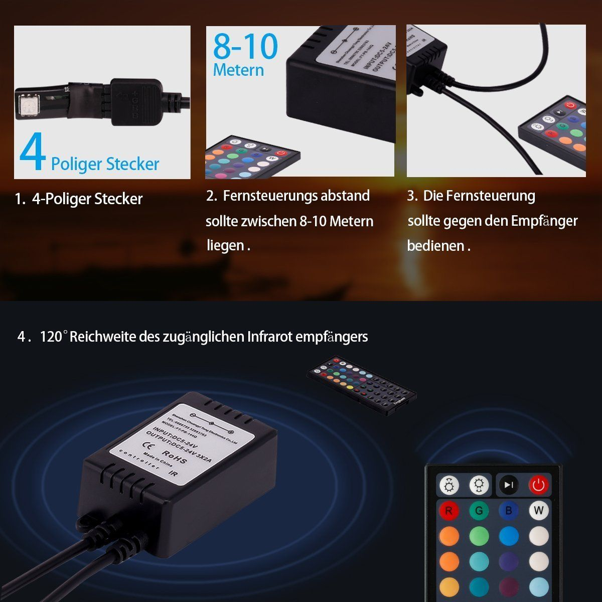10m Tingkam Led Strip Lights Kit 32.8 Ft 300leds Waterproof 5050 SMD RGB LED Flexible Lights with 44key ir Controller and Power Supply for Home,Kitchen,Trucks,Sitting Room and Bedroom Decoration.