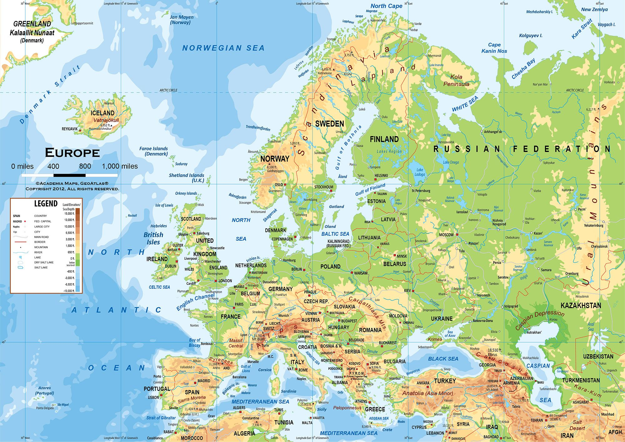 europe physical features map Google Search – Geographical Map of Eastern Europe